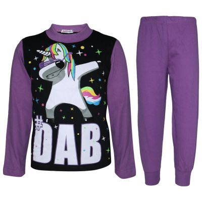 A2Z Trendz Kids Girls Pajamas Designer Dabbing Unicorn #Dab Print Lilac Contrast Sleeves Pyjamas Trendy Floss Fashion Loungewear Nightwear Pjs Outfit Set Age 5 6 7 8 9 10 11 12 13 Years