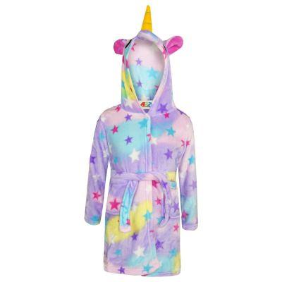 A2Z Trendz Girls Boys Bathrobes Kids 3D Animal Soft Hooded Fleece Unicorn Cosplay Stars Print Bathrobe Dressing Gown Night Lounge Wear Age 5-13 Years