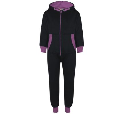 A2Z Trendz Kids Girls Lilac Contrast Fleece Onesie All In One Jumsuit Playsuit Nightwear New Age 2 3 4 5 6 7 8 9 10 11 12._13 Years