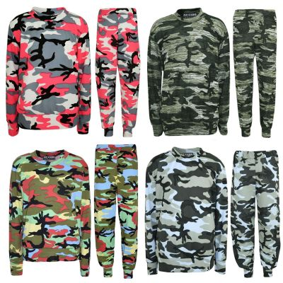 Kids Girls Lounge Suit Camouflage Jogsuit Top Bottom Loungewear New Age 7 8 9 10 11 12 13 Years