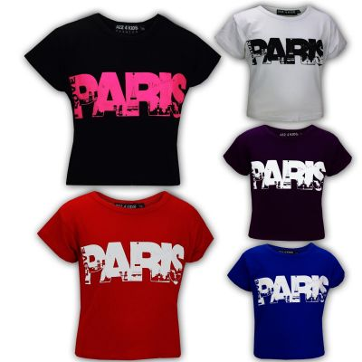 "Kids Girls "" I LOVE PARIS "" Print Fashion Crop Top Trendy T Shirt Age 7 8 9 10 11 12 13 Years"
