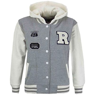 Kids Girls Boys Designer's R Fashion Baseball Grey Hooded Jackets Varsity Hoodie