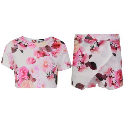 A2Z Trendz Kids Girls Tops Flowers Print Crop Top & Skort Skirt Shorts 2 Piece Fashion Summer Outfit Set New Age 7 8 9 10 11 12 13 Years