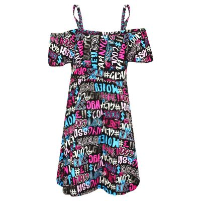 A2Z Trendz Girls Skater Dress Kids Cool Graffiti Print Summer Party Fashion Off Shoulder Dresses New Age 7 8 9 10 11 12 13 Years