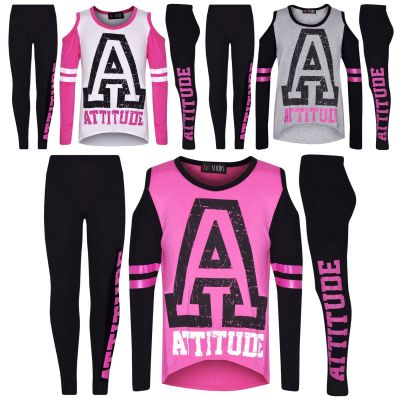 A2Z Trendz Girls Top Kids Attitude Print Trendy Top & Fashion Legging Set Age 7-13 Years