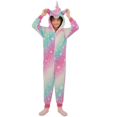 A2Z Trendz Kids Girls Unicorn Onesie Extra Soft Fluffy Stars Print Pink All In One Halloween Costume New Age 2 3 4 5 6 7 8 9 10 11 12 13 Years