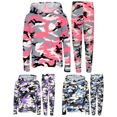 A2Z Trendz Kids Girls Tracksuits Designer's Camouflage Hooded Top Bottom Casual Loungewear Lounge Suit Nightwear Legging Outfit Sets New Age 7 8 9 10 11 12 13 Years