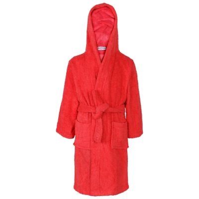 A2Z Trendz Kids Girls Boys Towel Bathrobe 100% Cotton Red Hooded Terry Towelling Luxury Robes Dressing Gown Loungewear Age 2 3 4 5 6 7 8 9 10 11 12 13 Years