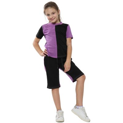A2Z Trendz Kids Girls Boys Shorts Set 100% Cotton Contrast Panelled Lilac Trendy Fashion Summer T Shirt Top & Short Pants Gymwear Outfit Clothing Sets Age 5 6 7 8 9 10 11 12 13 Years