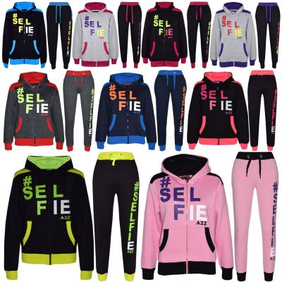 A2Z Trendz Kids Girls Boys Designer #Selfie Jogging Suit Hooded Tracksuit Tops  Bottoms Zipped Joggers  New Age 7 8 9 10 11 12 13 Years