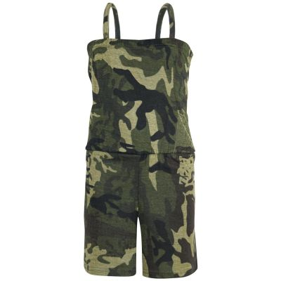 A2Z Trendz Girls Jumpsuit Kids Camouflage Green Trendy Playsuit All In One Summer Jumpsuits New Age 5 6 7 8 9 10 11 12 13 Years