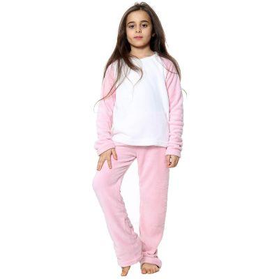 Kids Girls Boys Plain Pyjamas Baby Pink Loungewear Flannel Fleece Nightwear PJS.