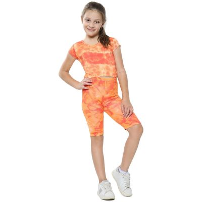 A2Z Trendz Kids Girls Crop Top & Cycling Shorts Orange Tie Dye Print Trendy Fashion Summer Clothing Outfit Crop & Short Sets New Age 5 6 7 8 9 10 11 12 13 Years