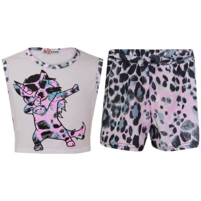 A2Z Trendz Kids Girls Crop & Shorts Set Dabing Unicorn Snow Leopard Trendy Fashion White Summer Outfit Top & Short New Age 7 8 9 10 11 12 13 Years