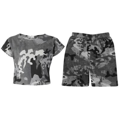 A2Z Trendz Kids Girls Crop Top & Cycling Shorts Charcoal Camouflage Print Trendy Fashion Summer Outfit Short Sets New Age 5 6 7 8 9 10 11 12 13 Years