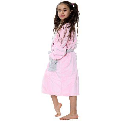 Kids Girls Boys Bathrobes Plain Baby Pink Soft Dressing Gown Loungewear.