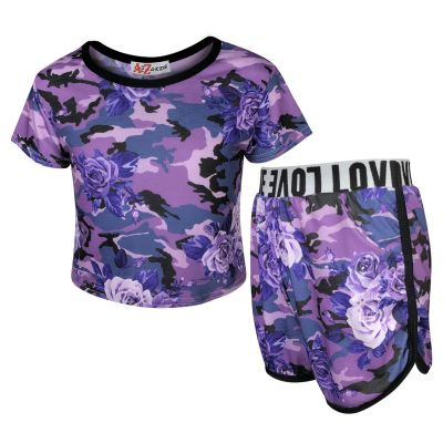 A2Z Trendz Kids Girls Shorts Set Camouflage Purple Floral Print Trendy Fashion Summer Outfit Crop & Short New Age 7 8 9 10 11 12 13 Years