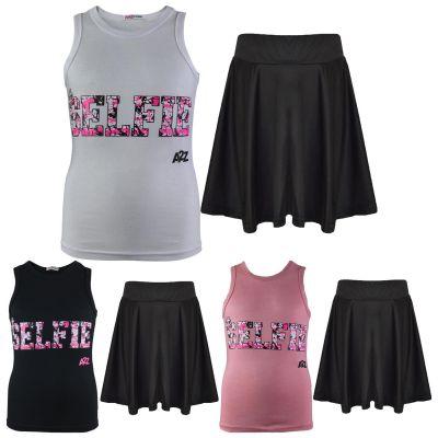 A2Z Trendz Kids Girls Vest & Skirt Sets Designer's Splash Print Trendy Floss Fashion Vest & Skirts Trendy T Shirt Tops Tees & Bottom Set New Age 5 6 7 8 9 10 11 12 13 Years