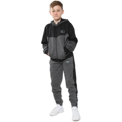 A2Z Trendz Unisex Tracksuit Kids Designer's A2Z Badged Contrast Panel Hooded - T.S 602 Charcoal 11-12