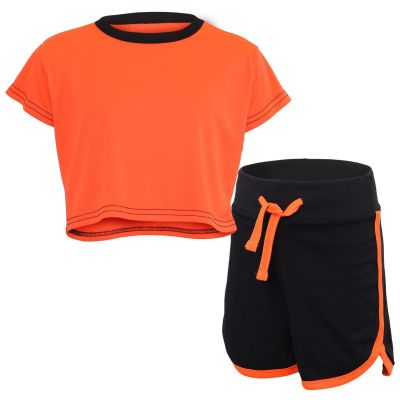 Kids Girls Crop Top & Hot Shorts Neon Orange Fashion Gym Sports Summer Outfit Clothing Sets.