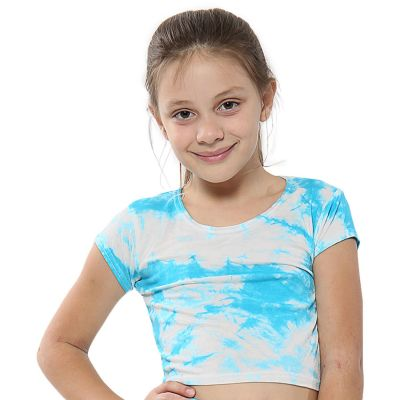 A2Z Trendz Kids Girls Crop Tops Tie Dye Print Blue Stylish Fahsion Trendy T Shirt Tank Top & Tees New Age 5 6 7 8 9 10 11 12 13 Years