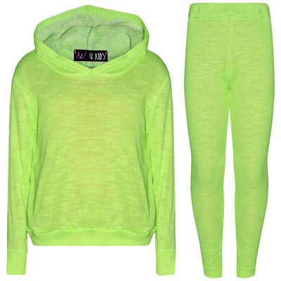 A2Z Trendz Kids Girls Tracksuits Designer's Plain Neon Green Hooded Top Bottom Fashion Legging Set Loungewear Suit New Age 7 8 9 10 11 12 13 Years