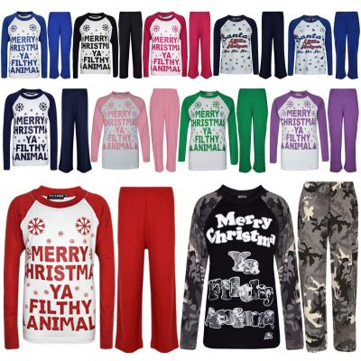 "Kids Girls Boys PJ'S ""YA FILTHY"" Printed Christmas Pyjamas New Age 5 6 7 8 9 10 11 12 13 Years"