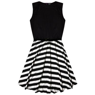 A2Z Trendz Kids Girls Skater Dress Designer's Striped Contrast Panel Summer Party Fashion Dance Dresses With A Free Belt Age 7 8 9 10 11 12 13 Years
