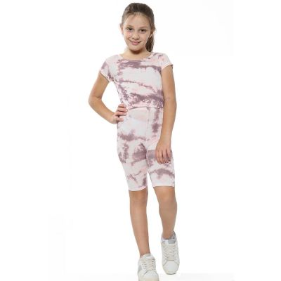 A2Z Trendz Kids Girls Crop Top & Cycling Shorts Stone Tie Dye Print Trendy Fashion Summer Clothing Outfit Crop & Short Sets New Age 5 6 7 8 9 10 11 12 13 Years