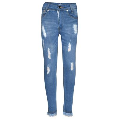 A2Z Trendz Girls Skinny Jeans Kids Designer's Light Blue Denim Ripped Stretchy Rough Pants Fashion Frayed Jeggings Distressed Trousers Age 5 6 7 8 9 10 11 12 13 Years