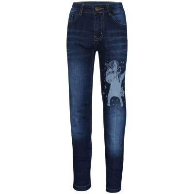 A2Z Trendz Kids Girls Jeans Designer's Unicorn Dab Dark Blue Denim Stretchy Pants Fashion Slim Fit Trousers New Age 5 6 7 8 9 10 11 12 13 14 Years