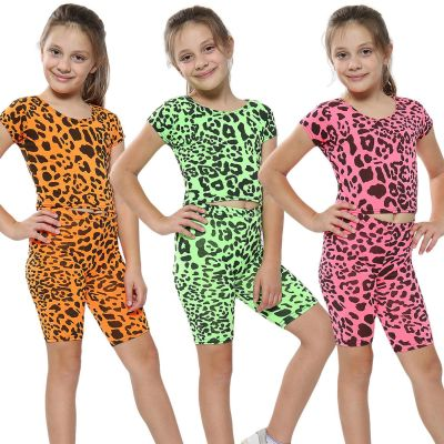 A2Z Trendz Kids Girls Crop Top & Cycling Shorts Leopard Print Trendy Fashion Summer Clothing Outfit Crop & Short Sets New Age 5 6 7 8 9 10 11 12 13 Years
