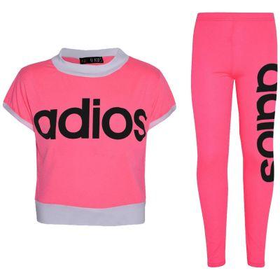 Kids Girls Adios Crop Top Legging Set Neon Pink Half Shirt Jogg Suit Tracksuits
