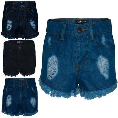 A2Z Trendz Kids Girls Shorts Bermuda Skinny Ripped Jeans Hot Pants Summer Denim Chino Short Casual Half Pant New Age 3 4 5 6 7 8 9 10 11 12 13 Years