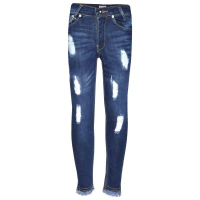 A2Z Trendz Girls Skinny Jeans Kids Designer's Dark Blue Denim Ripped Stretchy Rough Pants Fashion Frayed Jeggings Distressed Trousers Age 5 6 7 8 9 10 11 12 13 Years