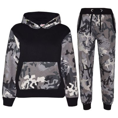 A2Z Trendz Kids Boys Girls Tracksuit Designer's Camouflage Charcoal & Black Contrast Panel Zipped Top Hoodie & Botom Jogging Suit Age 7 8 9 10 11 12 13 Years
