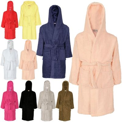 Kids Girls Boys 100% Cotton Soft Terry Hooded Bathrobe Luxury Dressing Gown 2-13