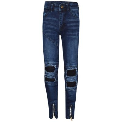 A2Z Trendz Kids Girls Stretchy Jeans Designer's Dark Blue Ripped Knee Drape Panel Denim Pants Fit Trousers New Age 5 6 7 8 9 10 11 12 13 Years