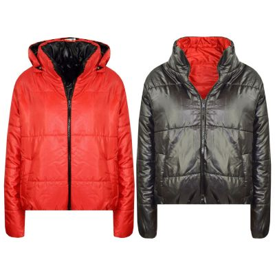 A2Z Trendz Girls Jacket Kids Designer's Red Reversible Cropped Hooded Padded Quilted Puffer Jackets Warm Thick Coats New Age 5 6 7 8 9 10 11 12 13 Years