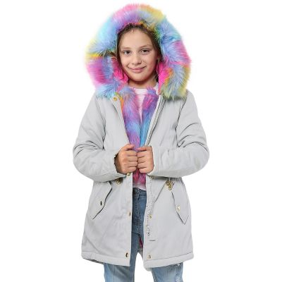 A2Z Trendz Kids Hooded Jacket Girls Rainbow Faux Fur Silver Parka School Jackets Outwear Coat New Age 2 3 4 5 6 7 8 9 10 11 12 13 Years