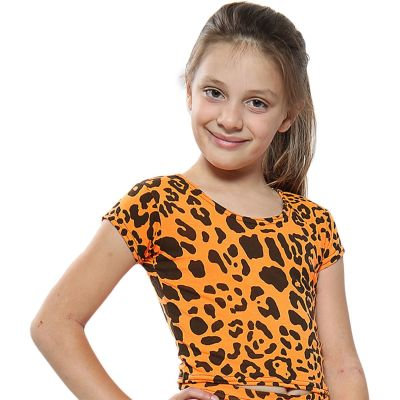 A2Z Trendz Kids Girls Crop Tops Leopard Print Neon Orange Stylish Fahsion Trendy T Shirt Tank Top & Tees New Age 5 6 7 8 9 10 11 12 13 Years