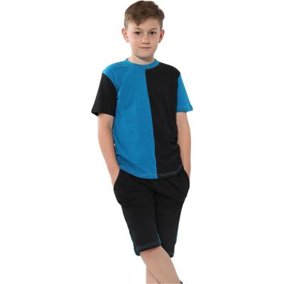 A2Z Trendz Kids Girls Boys Shorts Set 100% Cotton Contrast Panelled Blue Trendy Fashion Summer T Shirt Top & Short Pants Gymwear Outfit Clothing Sets Age 5 6 7 8 9 10 11 12 13 Years