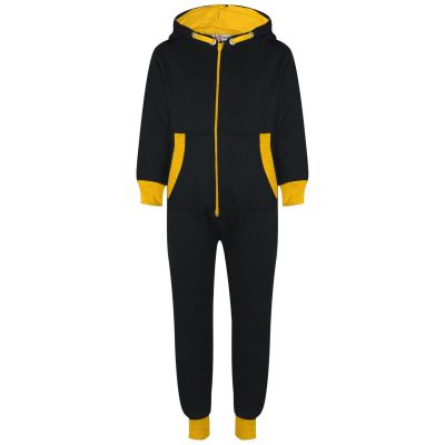 A2Z Trendz Kids Girls Boys Yellow Contrast Fleece Onesie All In One Jumsuit Playsuit Nightwear New Age 2 3 4 5 6 7 8 9 10 11 12._13 Years