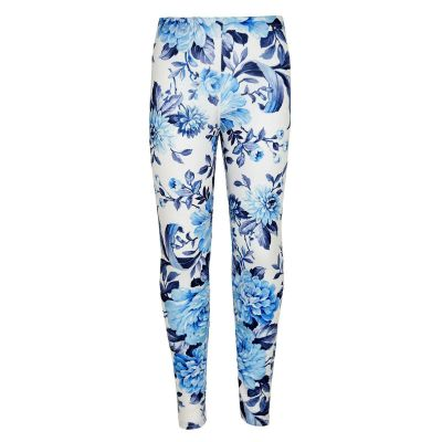 Kids Girls Legging Blue Floral Print Stylish Fashion Leggings New Age 7 8 9 10 11 12 13 Years