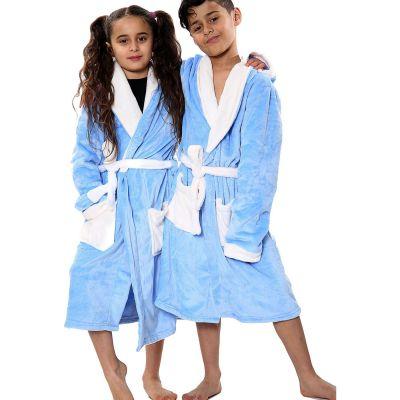 Kids Girls Boys Bathrobes Plain Blue Soft Dressing Gown Loungewear.