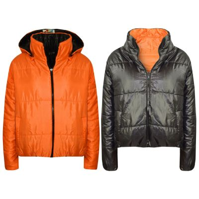 A2Z Trendz Girls Jacket Kids Designer's Orange Reversible Cropped Hooded Padded Quilted Puffer Jackets Warm Thick Coats New Age 5 6 7 8 9 10 11 12 13 Years