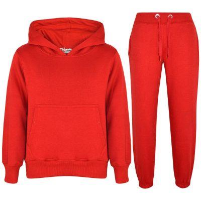 Girls Boys Plain Red Hooded Tracksuit