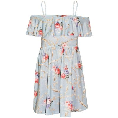 A2Z Trendz Girls Skater Dress Dusty Blue Floral Print Summer Party Fashion Off Shoulder Dresses New Age 7 8 9 10 11 12 13 Years