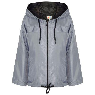 A2Z Trendz Girls Boys Raincoats Jackets Kids Silver Lightweight Kag Mac Waterproof Hooded Jacket Cagoule Rain Mac Age 5 6 7 8 9 10 11 12 13 Years