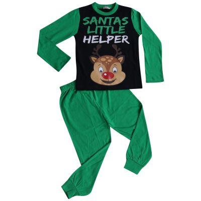 A2Z Trendz Kids Girls Boys Pyjamas Santas Little Helper Reindeer Print Stylish Green Contrast Sleeves Pajamas Xmas Set New Age 2 3 4 5 6 7 8 9 10 11 12 13 Years